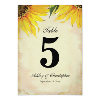 Sunflower Wedding Reception Table Number Five