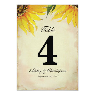 Sunflower Wedding Reception Table Number Four
