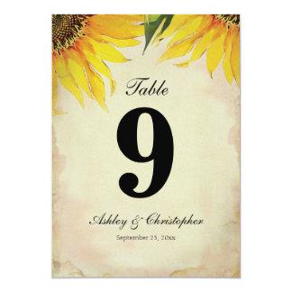 Sunflower Wedding Reception Table Number Nine