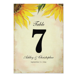 Sunflower Wedding Reception Table Number Seven Card