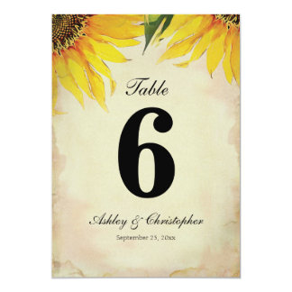 Sunflower Wedding Reception Table Number Six