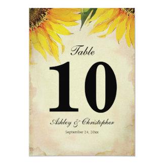 Sunflower Wedding Reception Table Number Ten