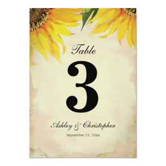 Sunflower Wedding Reception Table Number Three