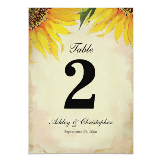 Sunflower Wedding Reception Table Number Two