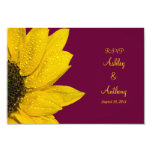 Sunflower Wedding Reply Card - Wine and Yellow