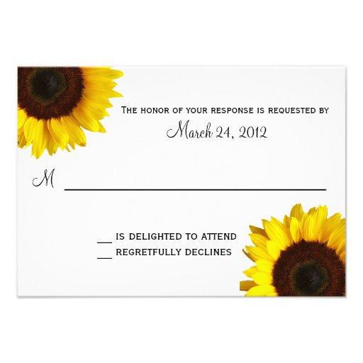 Sunflower Wedding RSVP Custom Invites