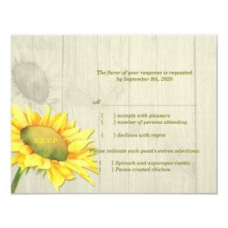 Sunflower Wedding RSVP + Menu Choice (4.25x5.5) 4.25x5.5 Paper Invitation Card
