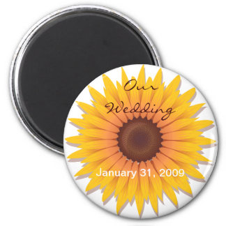 Sunflower Wedding Save The Date Announcement 2 2 Inch Round Magnet