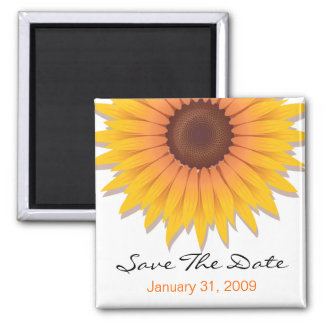 Sunflower Wedding Save The Date Announcement 2 Inch Square Magnet