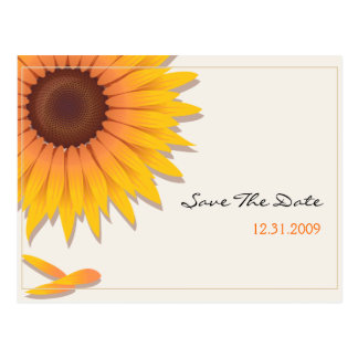 Sunflower Wedding Save the Date Announcement Card