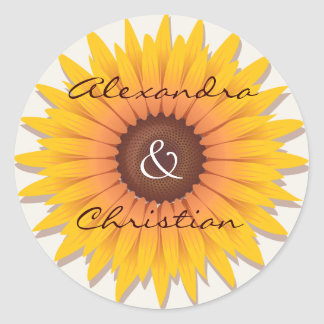 Sunflower Wedding Save The Date Announcement Classic Round Sticker