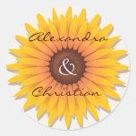 Sunflower Wedding Save The Date Announcement Round Sticker