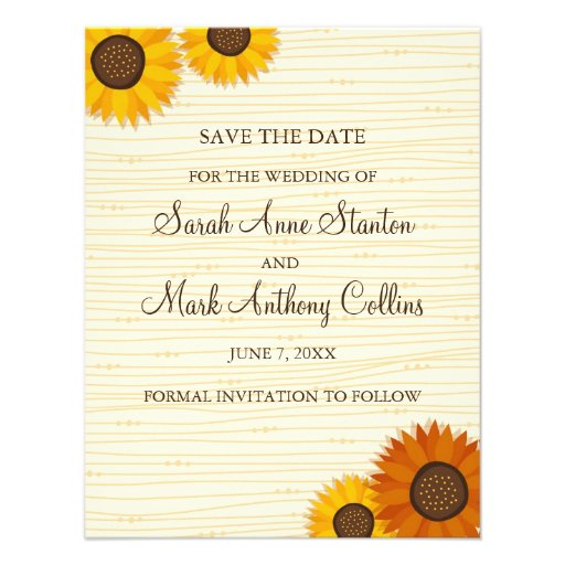 Sunflower wedding Save the date card Personalized Invitation