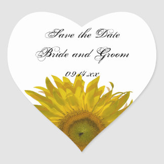 Sunflower Wedding Save the Date Heart Sticker