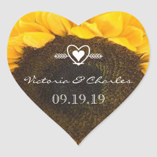 Sunflower Wedding Save the Date Stickers