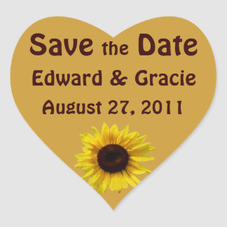 Sunflower Wedding - Save the Date Stickers
