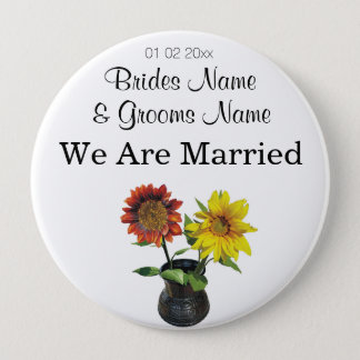 Sunflower Wedding Souvenirs Keepsakes Giveaways Pinback Button