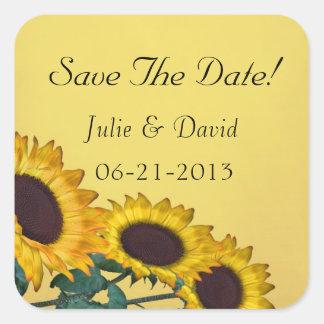 Sunflower Wedding Square Sticker