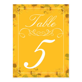 Sunflower Wedding Table Number Cards