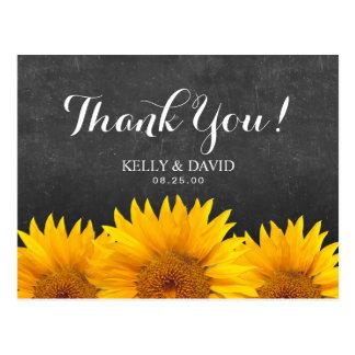Sunflower Wedding Thank You Chalkboard Postcard