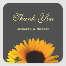 Sunflower Wedding Thank You Sticker