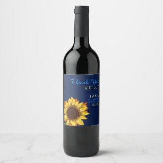 Sunflower wedding wine label