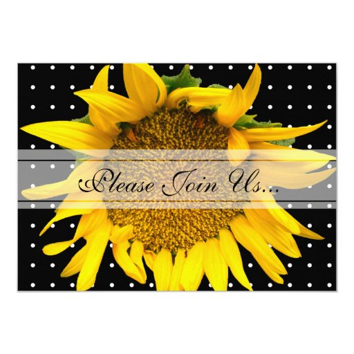 Sunflower Wedding with dots black Announcements