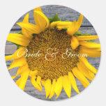 Sunflower Wedding  with post wood 1 Sticker