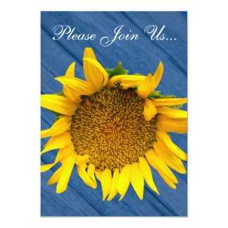 Sunflower Wedding Wood Blue 3 Card
