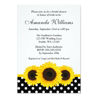 Sunflower White and Black Polka Dot Bridal Shower Card