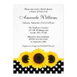 Sunflower White and Black Polka Dot Bridal Shower Invites