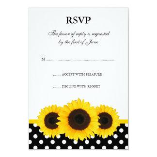 Sunflower White and Black Polka Dot Response Card Custom Announcement