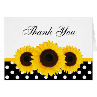 Sunflower White and Black Polka Dot Thank You Greeting Cards