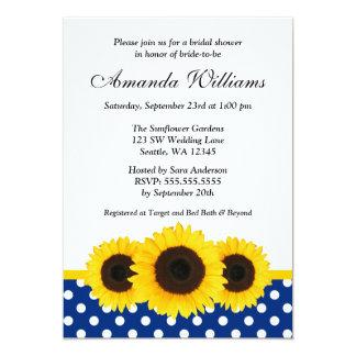 Sunflower White and Blue Polka Dot Bridal Shower Card