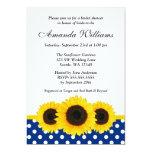 Sunflower White and Blue Polka Dot Bridal Shower 5x7 Paper Invitation Card