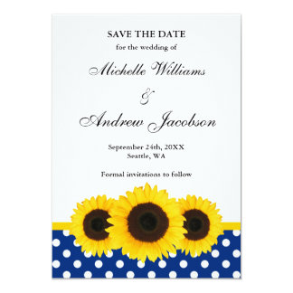 Sunflower White and Blue Polka Dot Save the Date 5x7 Paper Invitation Card