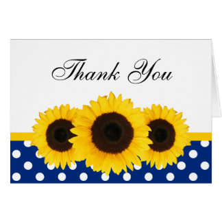 Sunflower White and Blue Polka Dot Thank You Stationery Note Card