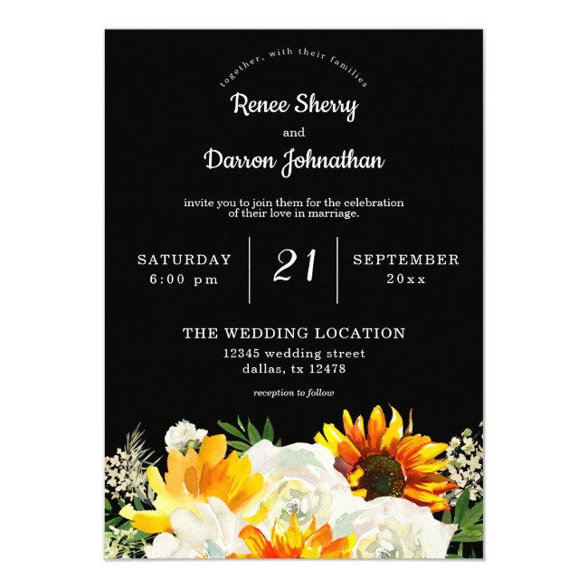 Sunflower & White Rose Floral Wedding - Black Invitation