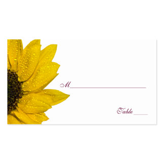 Sunflower Wine and Yellow Wedding Place Cards Double-Sided Standard Business Cards (Pack Of 100)