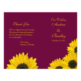 Sunflower Wine Yellow Wedding Program