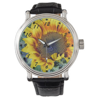 Sunflower with a Water Droplet Wristwatch