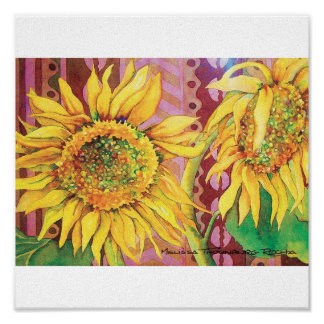 Sunflower with African Mudcloth Poster