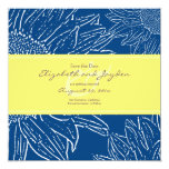Sunflower with Band Save the Date: Navy Yellow Personalized Invites