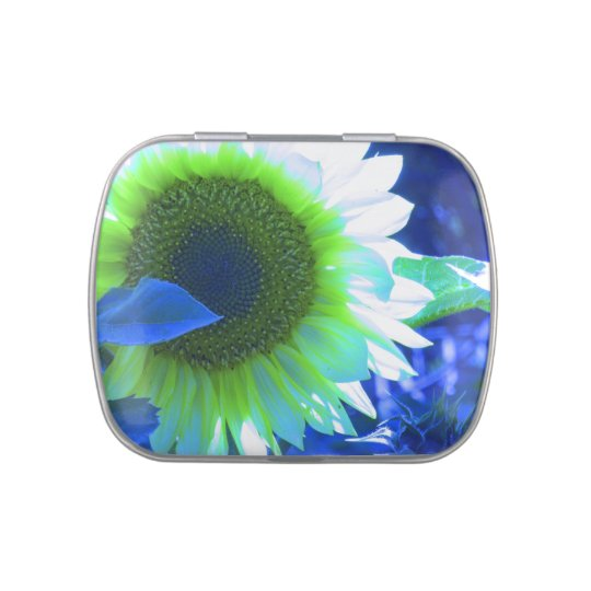 Sunflower with Blue Tint Jelly Belly Tin