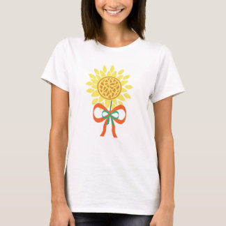 sunflower with bow lady's shirt