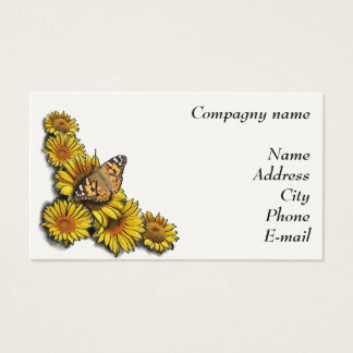 Sunflower with butterfly business card
