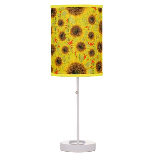 sunflower with distressed wood background table lamps zazzle. Black Bedroom Furniture Sets. Home Design Ideas