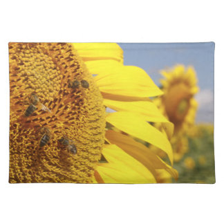 Sunflower with Honey Bees Cloth Place Mat