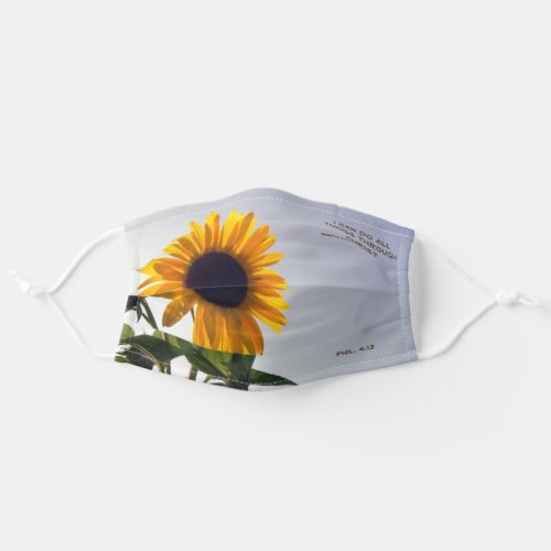 Sunflower with I can do all things through Christ Cloth Face Mask