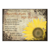 Sunflower with Ladybug Vintage Wedding Invitation (<em>$2.16</em>)